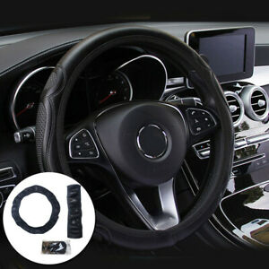 Car Steering Wheel Cover Quality Leather Breathable Anti-slip Accessories 38cm