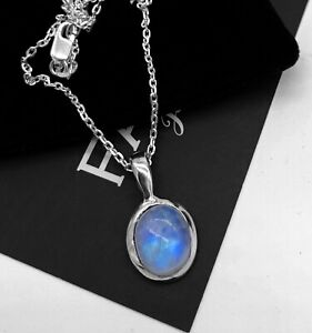 Dainty Sterling Silver 925 Moonstone Gemstone Pendant Necklace Ladies Jewellery