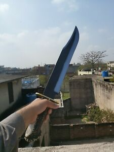 """25"""" Custom Handmade Carbon Steel Long Bowie Knife with Stag Horn Handle"""