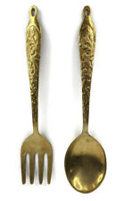 Vintage Large Brass Serving Spoon And Fork Pair 10.5 Inch Kitchen Wall Decor