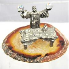 Pewter Sorcerer Wizard with Table and Crystal Ball Magic Fantasy Ritual on Agate