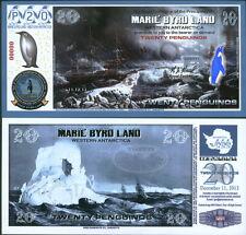 New Polymer 11.12.13 Marie Byrd Land 20 Penguino Specimen Fantasy Art Banknote!