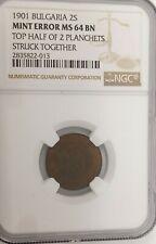 1901 Bulgaria 2 stotinki coin, Ngc rated Ms 64 Bn Mint error
