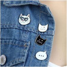 4pcs Girl White/Black Cat Face Collar Pins Badge Corsage Cartoon Brooch Jewelery