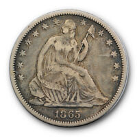 1865 S 50C Seated Liberty Half Dollar Very Fine to Extra Fine #7666