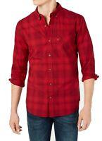 Levi's Mens Shirt Cabernet Red Size XL Chama Plaid Poplin Button Down $54 072
