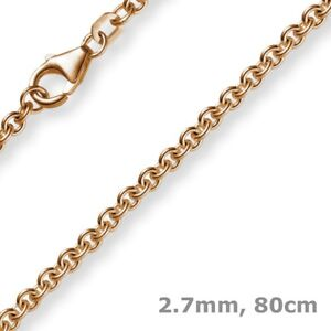 2,7mm Necklace Circular Anchor Chain 585 Gold Rose Gold, 80cm Men's, Gold Chain