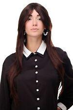 Perruque long marron schwarz-mahagonibraun Perruque lisse Raie 75cm 3110-2t33