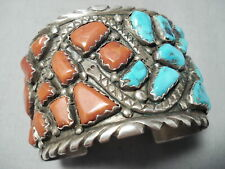 One Of The Chunkiest Best Vintage Zuni Coral Turquoise Sterling Silver Bracelet