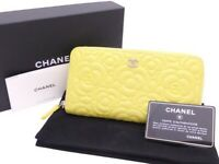 Auth CHANEL Camellia Embossed Zip Around Long Wallet Yellow Leather - e41962