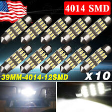 10x White 39mm Festoon LED 12SMD 4014 Dome Map Interior Lights 12V DE3423 C5W US