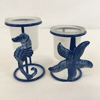 Vtg Set of 2 Blue Formed Metal Wire Starfish Seahorse Votive Candle Holders