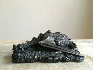 Vintage Black Resin Handcrafted Dragon Ornament SOLI-DEO WORKSHOP Orkney Isles