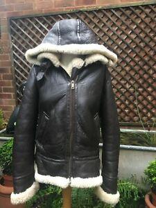 Genuine leather & sheepskin brown hooded women's Flying jacket size 14