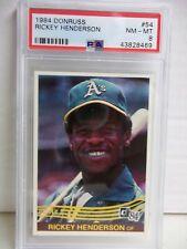 1984 Donruss Rickey Henderson PSA NM-MT 8 Baseball Card #54 MLB HOF