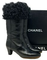 Authentic CHANEL Coco Mark Fur 2way Boots #36 US 6 Black Silver Leather Rank AB