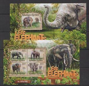 TG002 2016 TOGO FAUNA WILD ANIMALS LES ELEPHANTS KB+BL MNH