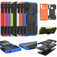For Moto G8 Power Lite, 3D 2in1 Dual-Layer Shockproof Rugged Hybrid Case +Glass