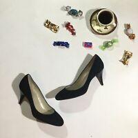 Talbots Womens Size 7.5 Lars 2 Heels Pumps Career Suede Shoes In Black NWOB