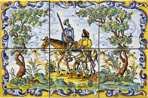 "Hand Painted QUIJOTE and SANCHO PANZA Cervantes tiles 18""x12"" Spanish  QUIXOTE"
