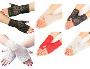 Retro Lace Stretch Fingerless Wrist Gloves Goth Fancy Dress black