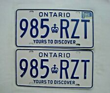 1993 ONTARIO License Plate PAIR # 985 RZT