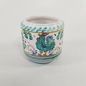 "Grazia Deruta Italy Green Rooster Small Pot Container Succulent Planter 3"" tall"