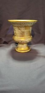 "Stangl Art Pottery Vase Antique Gold 3987 6 1/3"" MCM Handpainted"