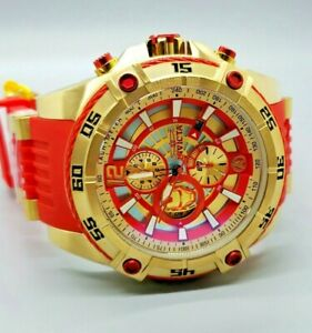 NEW Invicta 54mm Limited ED. Marvel IRON MAN Bolt Viper Chrono 18K Gold Watch