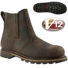 MENS V12 V-TECH ROCKY V1255 BROWN LEATHER SAFETY TOE CAP WORK ZIP BOOTS SIZE7-13