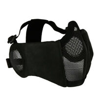 Tactical CS Game Airsoft Half Face Metal Mesh Net Mask Ear Protection Black