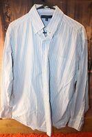 Tommy Hilfiger Large 16 1/2 34-35 White Blue Stripe Men's Shirt