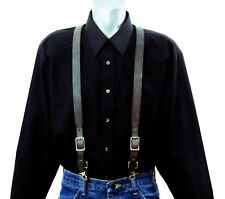 Dark Gray Leather Suspenders with scissor snaps