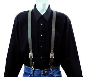 Dark Gray Leather Suspenders with scissor snaps