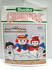 New Vtg BUCILLA Plastic Canvas Christmas Kit SNOW FAMILY draftstop needlepoint