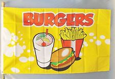 Burgers Flag 3X5' Concession Fair Food New Fries Cart