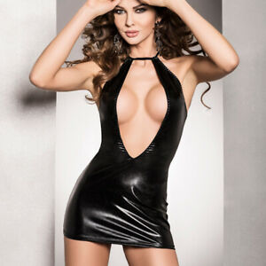Passion Wet look Dress with Plunging Back and Front, Size S/M, 8-12