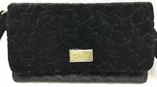 Betsey Johnson Amanda Crossbody Clutch Purse Quilted Velvet Black Stars