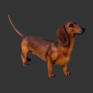 Life Size Brown Dachshund Cute Realistic Indoor Outdoor Dog Model Gift Prop