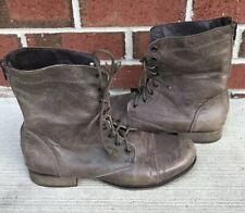 Steve Madden P-Kombat Stone Leather Lace Zip Combat Boots Womens Size 8.5 M