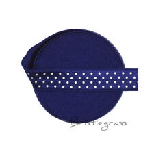 "5 Yard 5/8"" Polka Dot Print Navy Fold Over Elastics FOE Spandex Band Sewing Trim"