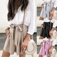 Women Casual Short Loose Pants Elastic Waist Bowknot Shorts Pockets Pants Belt