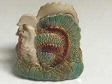 "New listing Awesome Hand Painted Ceramic Turkey Napkin Holder 4 1/4"" x 4 3/4"" x 2 1/2"" Euc"