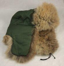 Vintage Green Trapper Hat w/ Quilted Lining Pale Fur Trim Large 58 Fur Ushanka