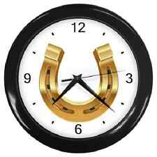 GOLDEN HORSE SHOE LUCKY CHARM WALL CLOCK **SUPER GIFT ITEM**