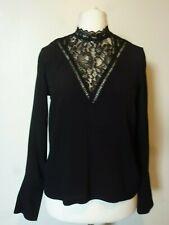 H&M Womens Long Sleeve Lace Detail Crêpe Blouse Size 8 Uk BNWT RRP £23.98 Black