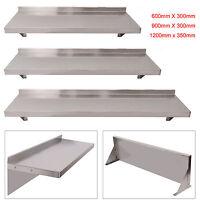 600/900/1200mm Stainless Steel Wall Shelf Mounted Kitchen Shelves w/ Brackets