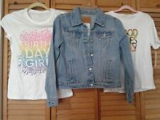 Lot Girls clothing (2) T-SHIRTS + Levi Strauss DENIM JACKET NWT