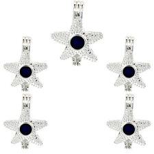 5PCS-L306 Star Beads Cage Aroma Diffuser Charm Locket Light Silver Pendant