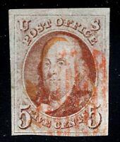 [CJ]  US #1 Used 1847 ''5c Franklin'~ Premium w/Rimless Red Fancy GRID Cancel